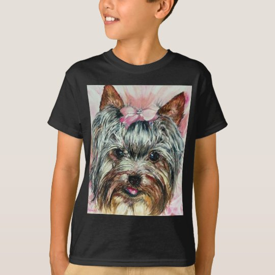Yorkie in Pink T-Shirt
