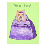Yorkie in Polka Dot Purse Party Invitations