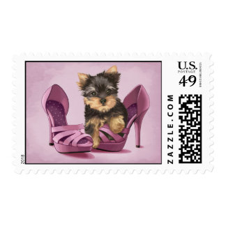 Yorkie in Shoe Postage Stamp