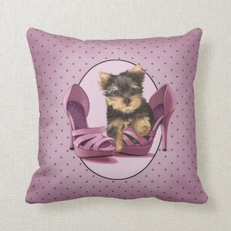 Yorkie in Shoe Throw Pillows