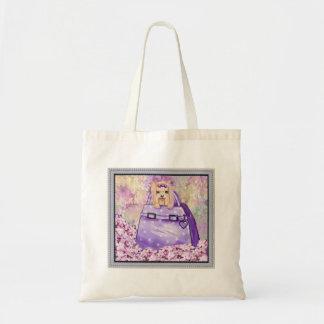 Yorkie in the Lilacs Art Print Tote Bag