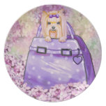 Yorkie in the Lilacs n Polka dot Purse Party Plates