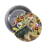 Yorkie in the Pansy Garden Button Pin
