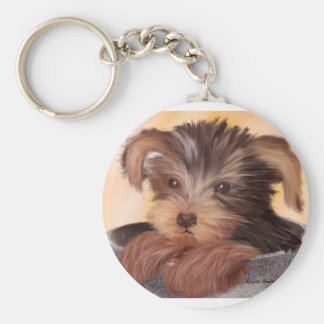 Yorkie in your Cup Basic Round Button Keychain