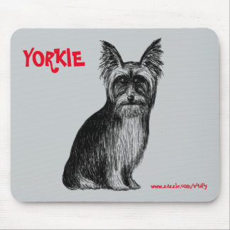 Yorkie ink pen drawing art mouse pad