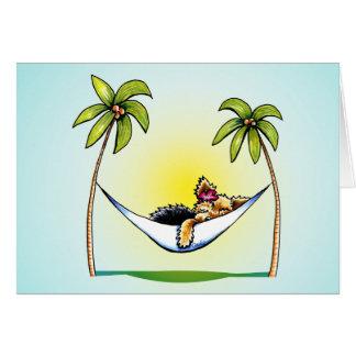 Yorkie Island Princess Off-Leash Art™ Note Card