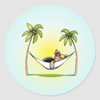 Yorkie Island Princess Off-Leash Art™ Classic Round Sticker