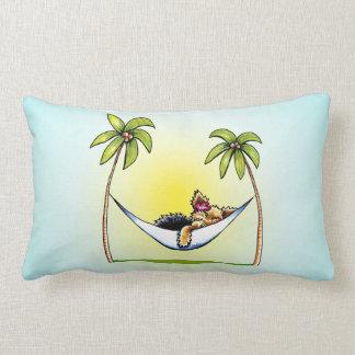 Yorkie Island Princess Off-Leash Art™ Lumbar Pillow