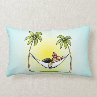Yorkie Island Princess Off-Leash Art™ Throw Pillows