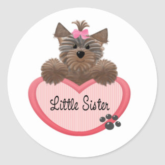 Yorkie Little Sister Classic Round Sticker