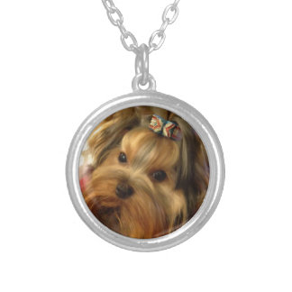 Yorkie Love Silver Plated Necklace