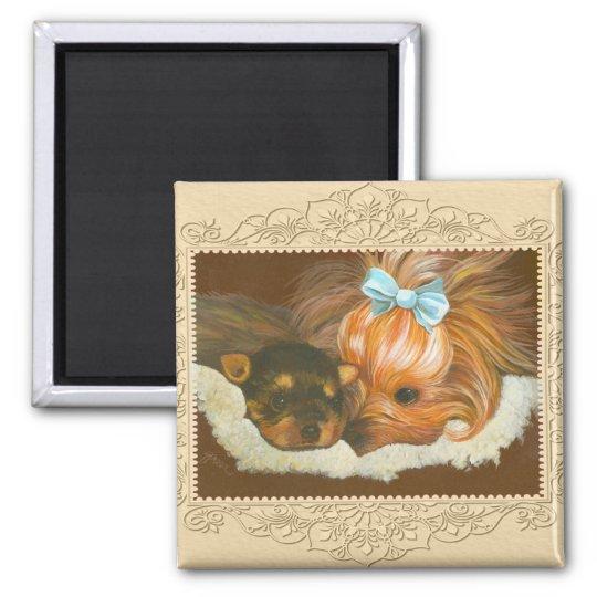 Yorkie Mama & Puppy Portrait Magnet