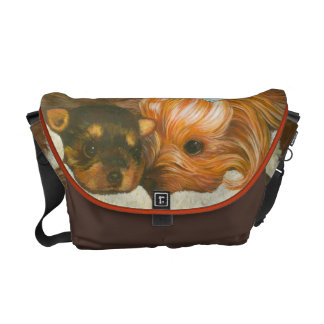 Yorkie Mama & Puppy Portrait Painting Courier Bags