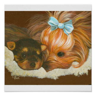 Yorkie Mama with Baby Print