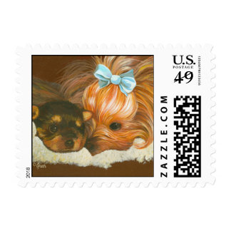 Yorkie Mama with Puppy Postage Stamp