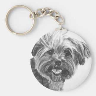 Yorkie Mix Charcoal Drawing Key Chains