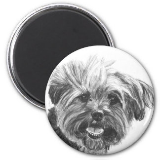Yorkie Mix Charcoal Drawing 2 Inch Round Magnet