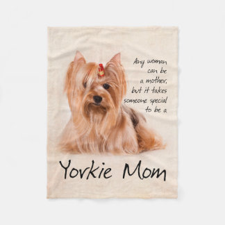 Yorkie Mom Fleece Blanket