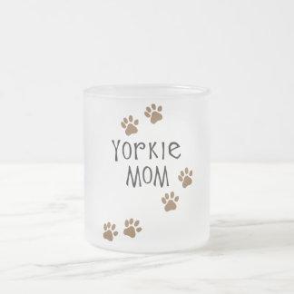 Yorkie Mom Frosted Glass Coffee Mug