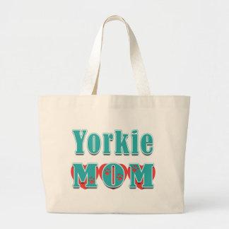 Yorkie Mom Hearts Canvas Bag