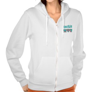 Yorkie Mom Hearts Hooded Pullover