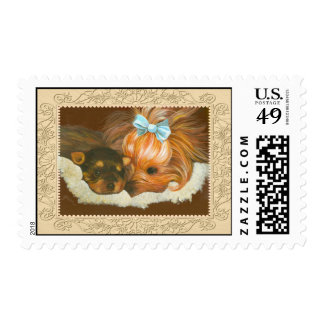 Yorkie Mom & Puppy Postage Stamps