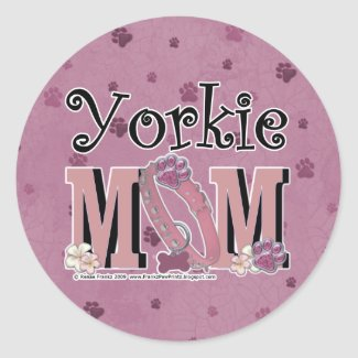 Yorkie MOM Round Stickers
