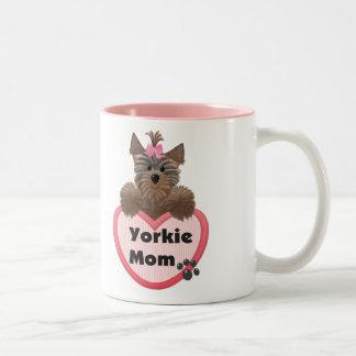 Yorkie Mom Two-Tone Coffee Mug