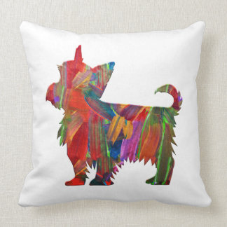 Yorkie Multi Colored Painted Dog Silhouette Throw Pillow