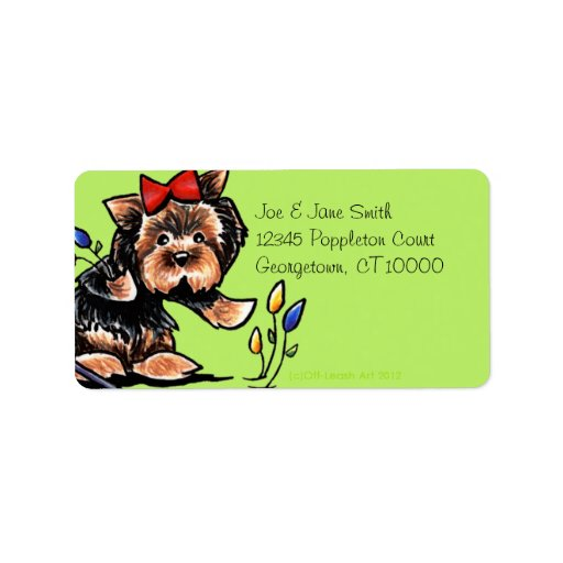 Yorkie n Tulips Olive Personalized Address Labels
