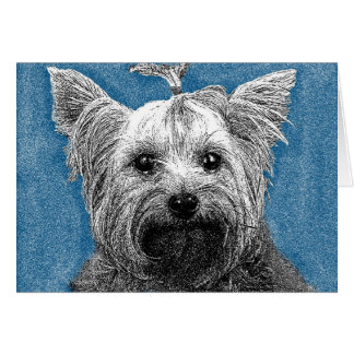 YORKIE NOTE CARD- graphic pen design Card