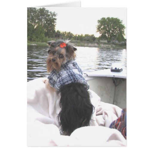 Yorkie Notecard Gone Fishing Stationery Note Card