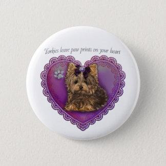 Yorkie Paw Prints Button