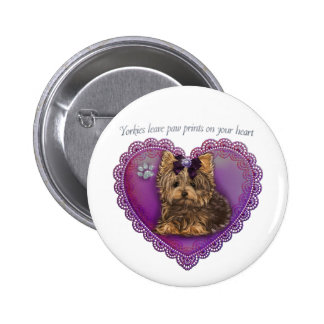 Yorkie Paw Prints Button