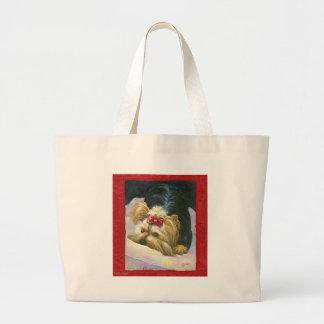 Yorkie Peekaboo Red Damask Art Print Large Tote Bag