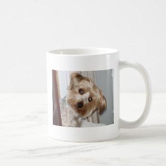 Yorkie Peeking Around the Corner Classic White Coffee Mug