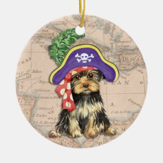 Yorkie Pirate Christmas Tree Ornaments