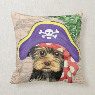 Yorkie Pirate Throw Pillow