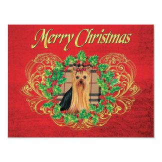 "Yorkie Plaid n Holly Christmas Invitations 4.25"" X 5.5"" Invitation Card"