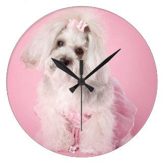 Yorkie-poo pink clock- pet photography large clock