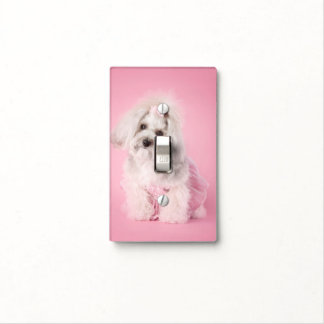 Yorkie-poo pink - pet photography -dog light switch cover
