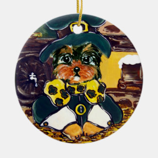 Yorkie Poo St. Patty Ceramic Ornament