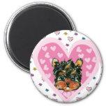 Yorkie Poo Valentine 2 Inch Round Magnet