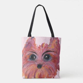 Yorkie Pop Art Painting in Pink and Orange Tote Bag
