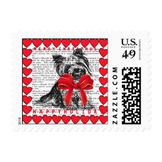 YORKIE POSTAGE STAMP HAPPY HOLIDAYS!