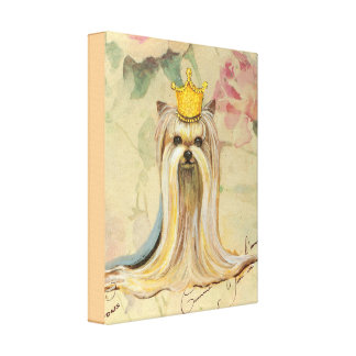 Yorkie Princess in Gold Crown Canvas Print
