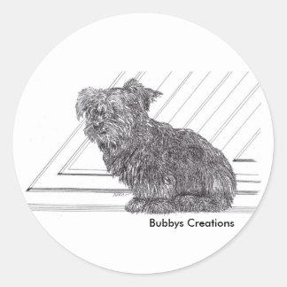 Yorkie Pup Classic Round Sticker