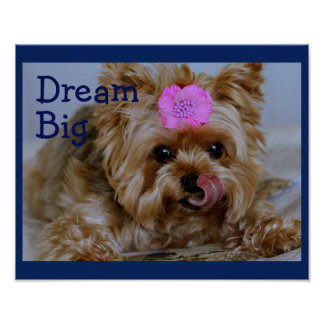Yorkie Pup with Pink Flower in Hair Poster