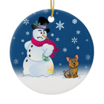 Yorkie puppy and Snowman Ceramic Ornament
