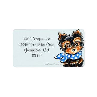 Yorkie Puppy Blue Scarf Fancy Label